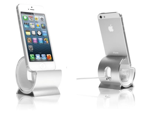 Sinjimoru Aluminum Sync Stand Dock Cradle Holder for iPhone 5, 4S, 4 and iPod Touch (Color option: Silver)