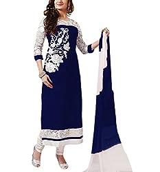 Akantik's Women's Georgette Unstitched Dress Material (AK-85_Blue_Free Size)