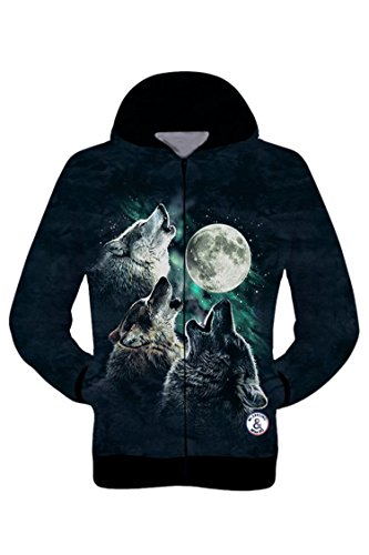 Pink Wind Unisex Punk Rock Wolf Print Side Hand Pockets Baseball Jacket M