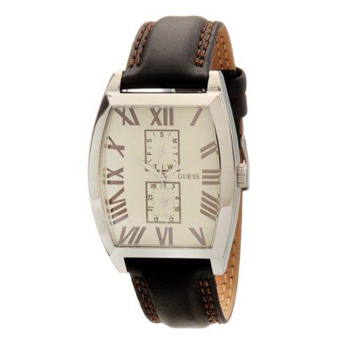 Guess W85066G3 - Reloj analógico de cuarzo para hombre con correa de piel, color negro