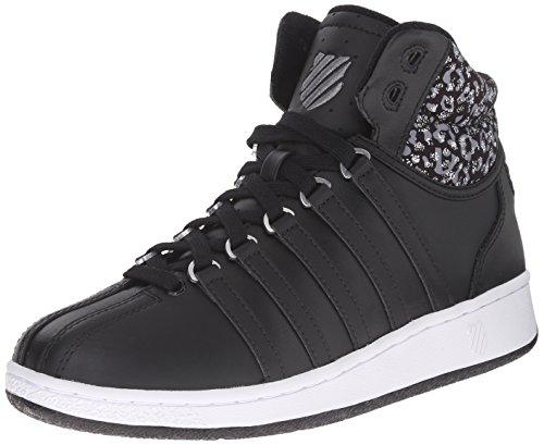 K-Swiss Women's Classic VN Mid Casual Shoe, Black/White/Leopard, 7 M US