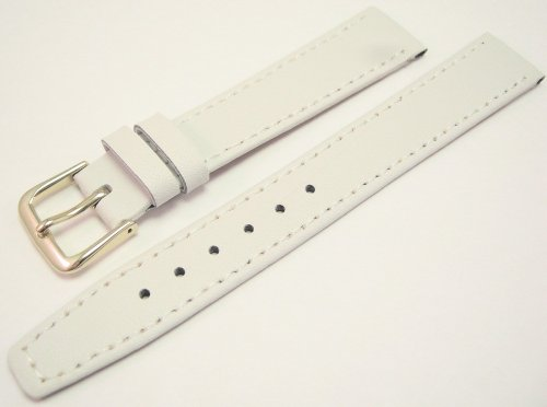 White Leather Watch Strap Band With A Stitched Edging And Nubuck Lining 16mm
