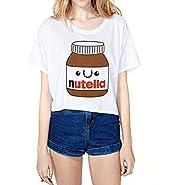 Uideazone Teen Girls Crop Top Women Slim Tees Short Sleeve T-Shirt One Size