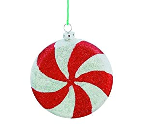 #!Cheap Barcana Shatterproof All Glitter Peppermint Candy, Set of 6 Ornaments, 4-Inch