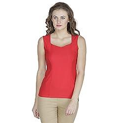 RAMPWALK Polyester Red XS Regular Fit V Neck Tops for women