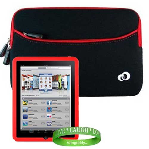 Apple Ipad Tablet ( 3G , wifi , WiFi + 3G ) Carrying Case Scratch Resistant Neoprene Sleeve with Attached Pocket for ipad Accessories ** BLACK - RED ** + ** RED ** iPad Silicone Skin + Vangoddy Live * Laugh * Love Wrist band