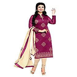 ZHot Fashion Women Embroidered un-stitched Dress Material In Chanderi Fabric (ZHRT1017) Purple