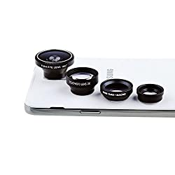 Lightdow 4IN1 Fish Eye Lens + Wide Angle Micro + Telephoto lens Magnetic For iPhone 4 4s 5 5s 6 Plus Samsung Galaxy S6 S5 S4 S3 (Mirage Black)