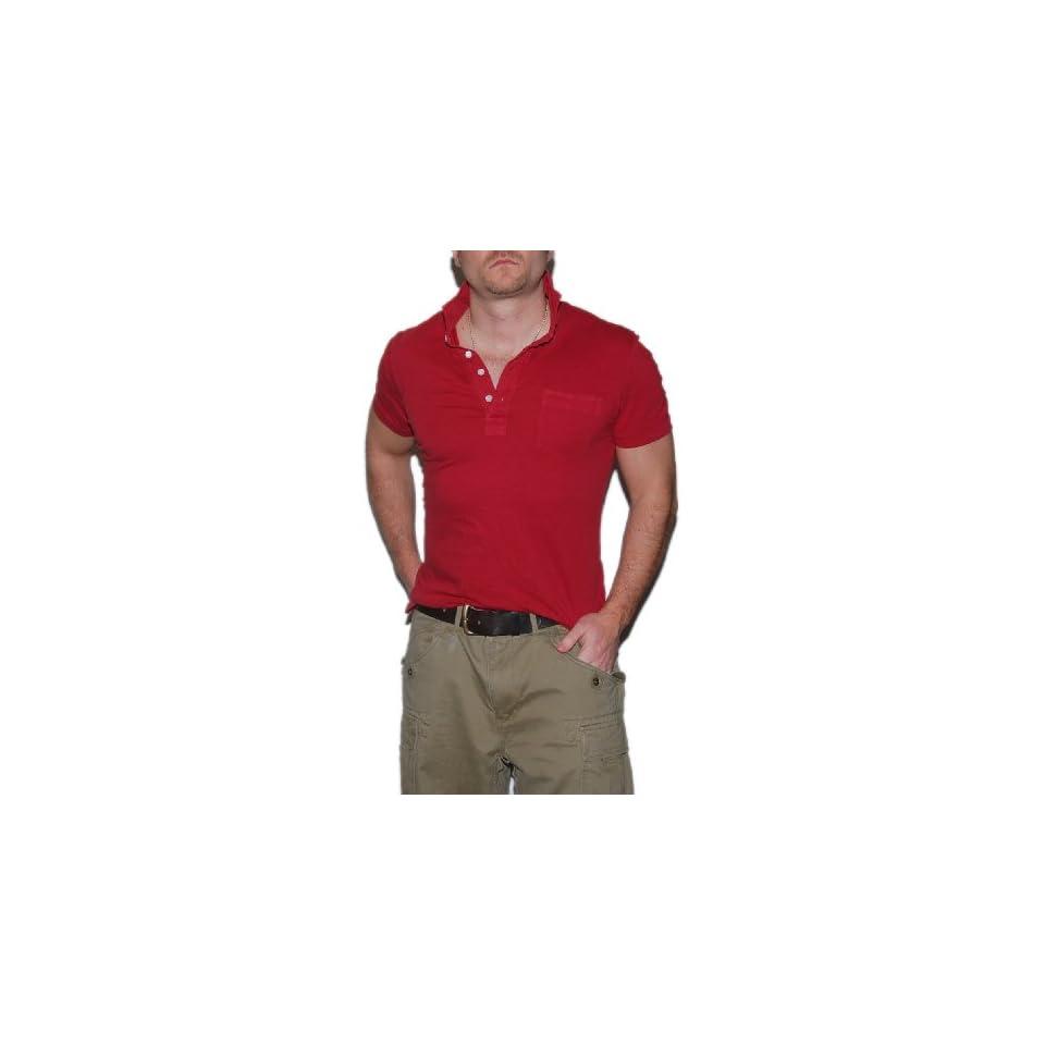 Ralph Lauren RRL Double RL Mens Vintage Henley Short Sleeve Shirt Red Large