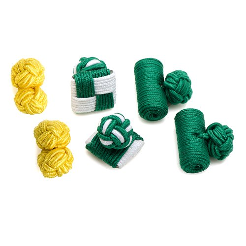 Ox And Bull Mens Silk Fighting Green Leprechaun Knot Cufflinks Yellow