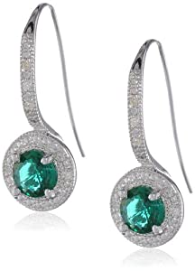 Sterling Silver Created Emerald and Diamond Round Shape Wire Earrings