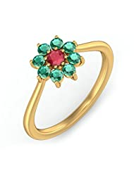 BlueStone Yellow Gold, Emerald And Ruby Lada Ring