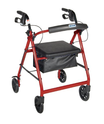 Drive Medical Aluminum Rollator with Fold Up and Removable Back Support, Padded Seat, 6
