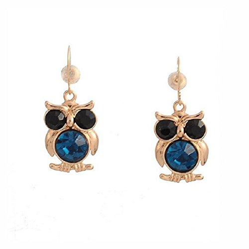 Doinshop 1Pair New Hot Fashion Simple Rhinestone Earrings Owl Earrings Jewelry (Blue)