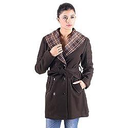Owncraft Women's Brown wool coat with belt 4