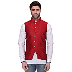 RG Designers Mens Sleeveless Nehru Jacket RedSilkJacket