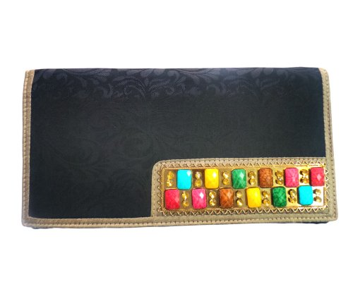 Bhamini Self Design Multi Colour Brooch Ethnic Clutch ( Black)