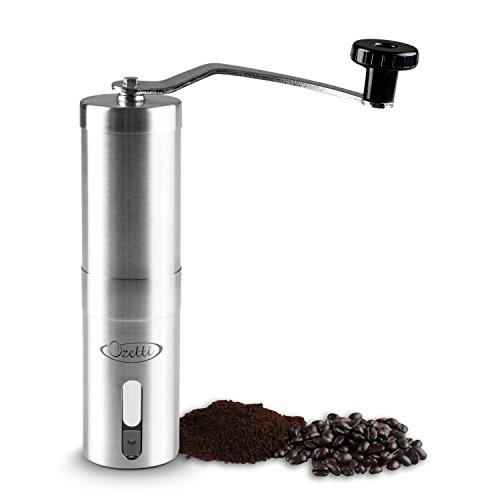 Manual Coffee Grinder - Burr Grinder by Ozetti - Precision Burr Mill for Gourmet Coffee Brewing - Brushed Stainless Steel Espresso Grinder