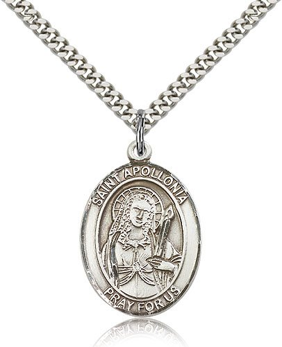 """Free Engraving Included Medal- Sterling Silver St. Saint Apollonia Pendant 1"""" Oval 7005Ss W/24"""" Sg Heavy Curb Chain W/Box Patron Saint Of Dental Diseases"""