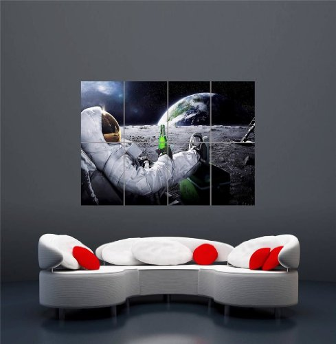 CARLSBERG-BEER-SPACE-PLANET-E-H-MOON-ASTRONAUT-UFO-GIANT-ART-PRINT-POSTER-OZ169