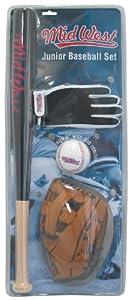 Midwest Junior Basebal Set - Black/Brown/White, 24 inch Bat / 9.5 inch Glove / 9 inch Ball