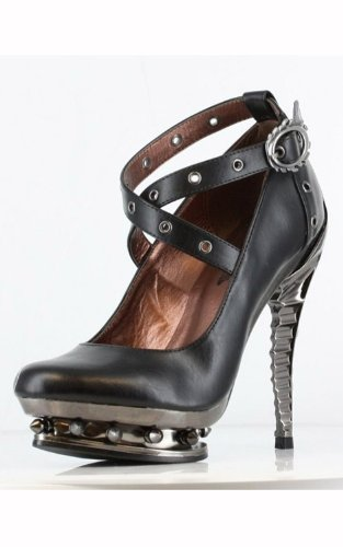 Hades Ladies TRITON Steam Punk Goth Vegan Mary Jane Metal Heels Platform Shoes (UK 6.5 / EU 39.5, Black PU)