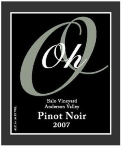 2007 Oh Wines Mendocino County Anderson Valley Balo Vineyard Pinot Noir 750 Ml