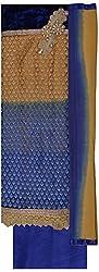 Krati Collection Women's Net Unstitched Dress Material (Cream & Blue)