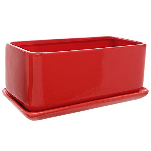 10 Inch Rectangular Modern Minimalist Red Ceramic