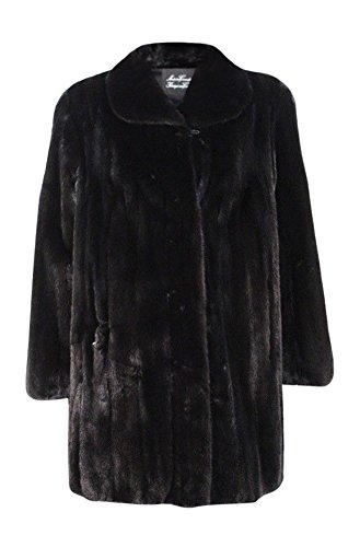 New Women's Natural Ranch Female Mink Fur Stroller Mid Length Coat 16 Large Black