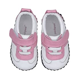 Pediped Originals * Kylie -- White/ Pink Leather Sneaker * Soft Leather-Soled Shoes! SMALL (US size: 4-4.5 / 6-12 months / EU Size 19)