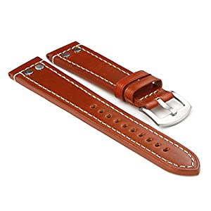 StrapsCo Rust Thick Leather Watch Strap with Rivets size 18mm