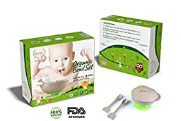 5 pieces Toddler Infant ORGANIC Spill Proof Stay Put Suction Bowl Including Lid spoon and Fork Eco Friendly Biodegradable FDA Approved BPA Free .FREE eBook included
