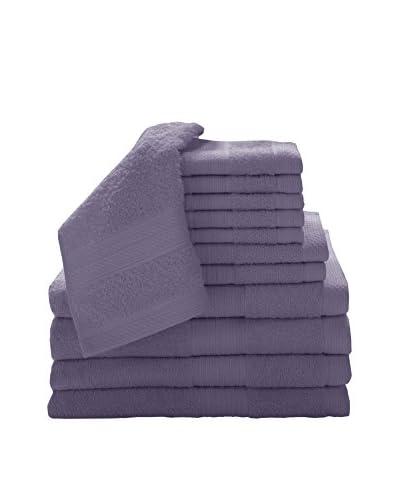 Luxury Home 12-Piece Super Plush Egyptian Cotton Towel Set, Plum