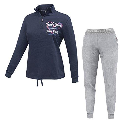 Pigiama / Tuta Homewear Donna SWEET YEARS Mezza Zip Cotone Felpato Art.45175 ( Blu Art.45175 - 42 / S)