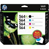 HP 564XL /564 High Yield Black and Standard C/M/Y Color Ink Cartridges, (D8J67FN#140) w/Media Value Kit 4/Pack