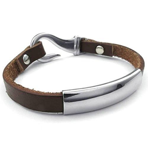 [Daesar Stainless Steel Bracelet Mens Womens Curb Bracelets Silver Brown Bracelet For Men Women 8] (Bollywood Costumes For Men)