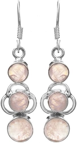 Sterling Earrings with Gems - Sterling Silver - Color Rainbow Moonstone