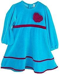Oye Girls Long Sleeve Velour Dress - Turquoise Blue (3-4Y)