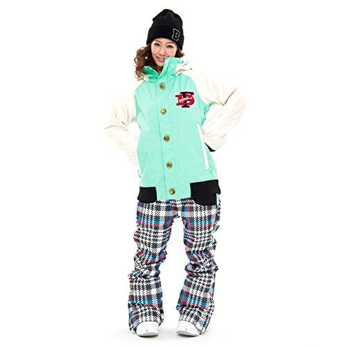 43Degrees スノーボードウェア レディース ウーマンズ ジャケット&パンツ上下セット Style_M 139 Mint/White × Glen Check_A