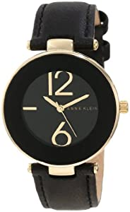 Anne Klein Women's AK/1064BKBK Gold Tone Black Leather Strap Watch