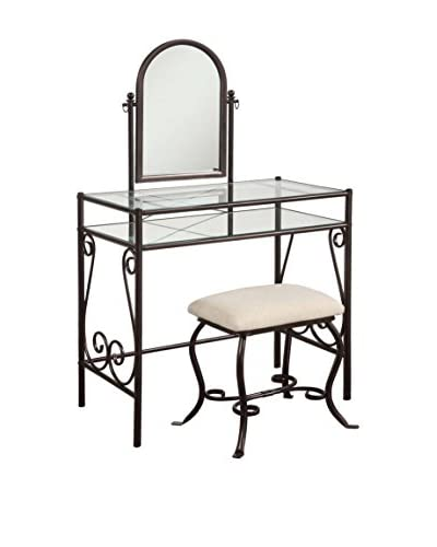 Linon Home Décor Clarisse Vanity Set, Dark Metal