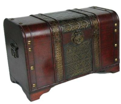 Old Fashioned Wood Storage Trunk Wooden Treasure Chest - Enhanced Medium Size