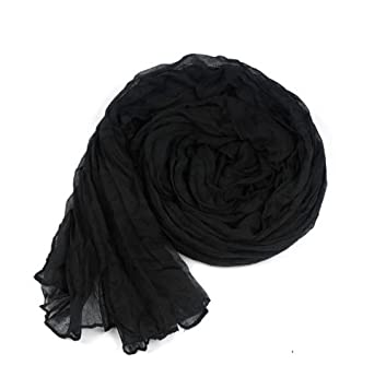 niceeshop(TM) Fashion Pure Candy Color Cotton and Linen Crinkle Long Soft Shawl Wrap Infinity Scarf For Women-Black