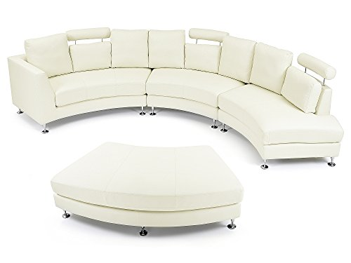 divano circolare in vera pelle 7 posti bianco sporco