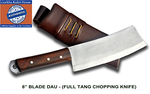 "Authentic Gurkha Kukri Knife - 8"" Blade Dau - the Chopping Knife with Dark Brown Leather Sheath-Handmade by Gurkha Kukri"