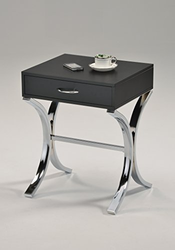 Best Buy! Chrome/Black Side End Table Nighstand with Drawer 24H