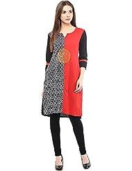 Indi Dori Women's Cotton Half Printed Red Japuri Kurti
