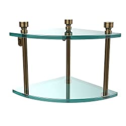Allied Brass FT-3-BBR Double Corner Glass Shelf Brushed Bronze