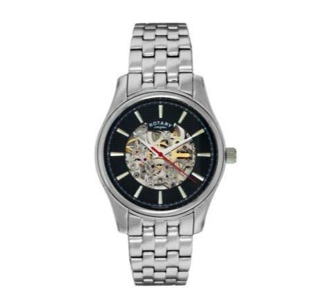 Black Easy To Read Dial Rotary Men's Skeleton Bracelet Watch Waterproof by ultimatesalestore